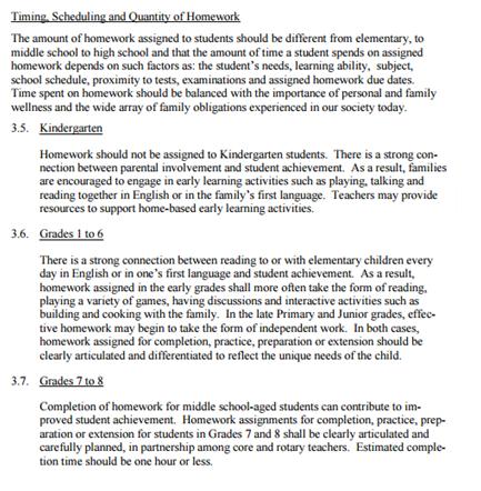 tdsb homework policy 2014