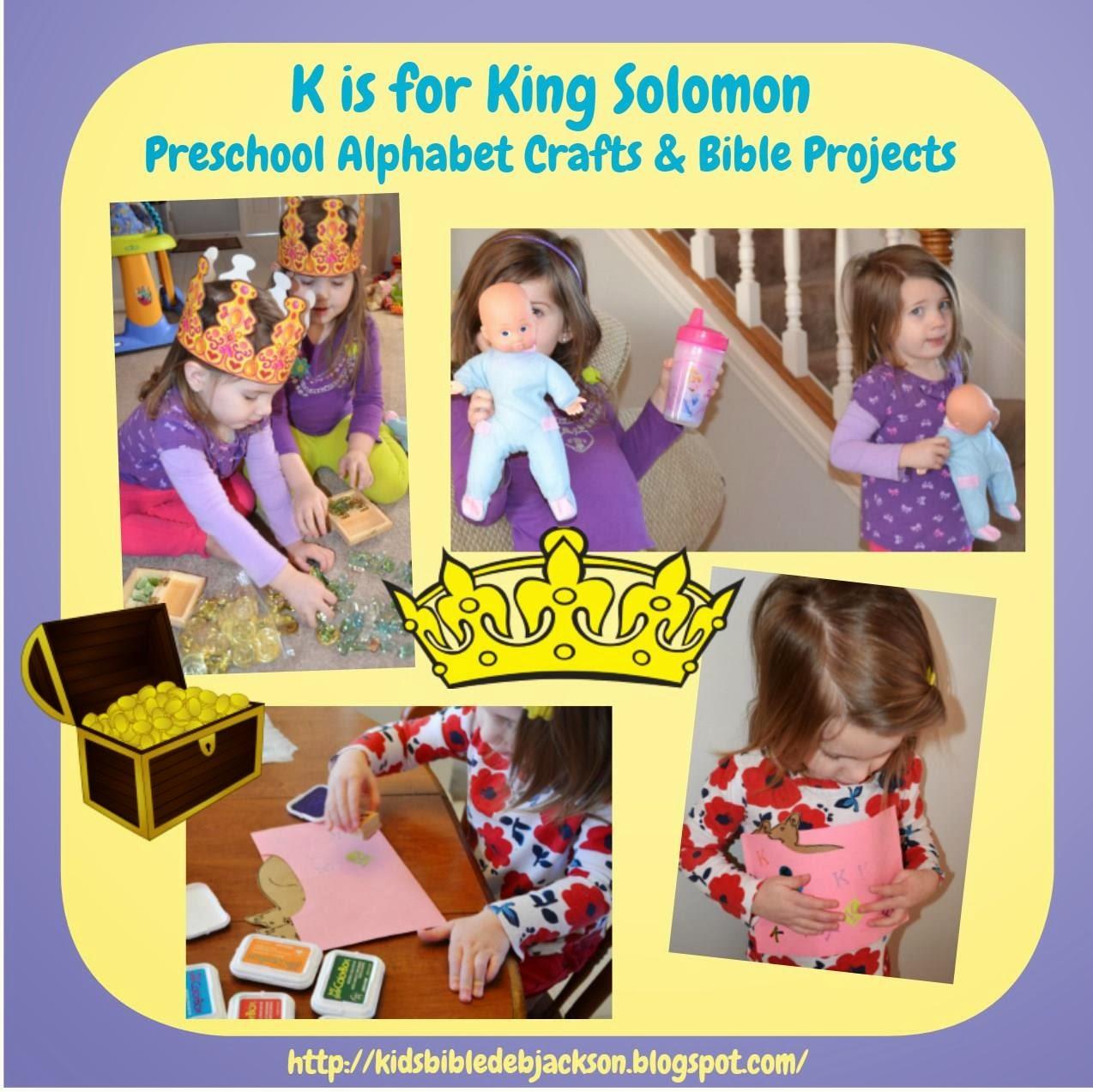 Bible Fun For Kids Preschool Alphabet K Is For King Solomon