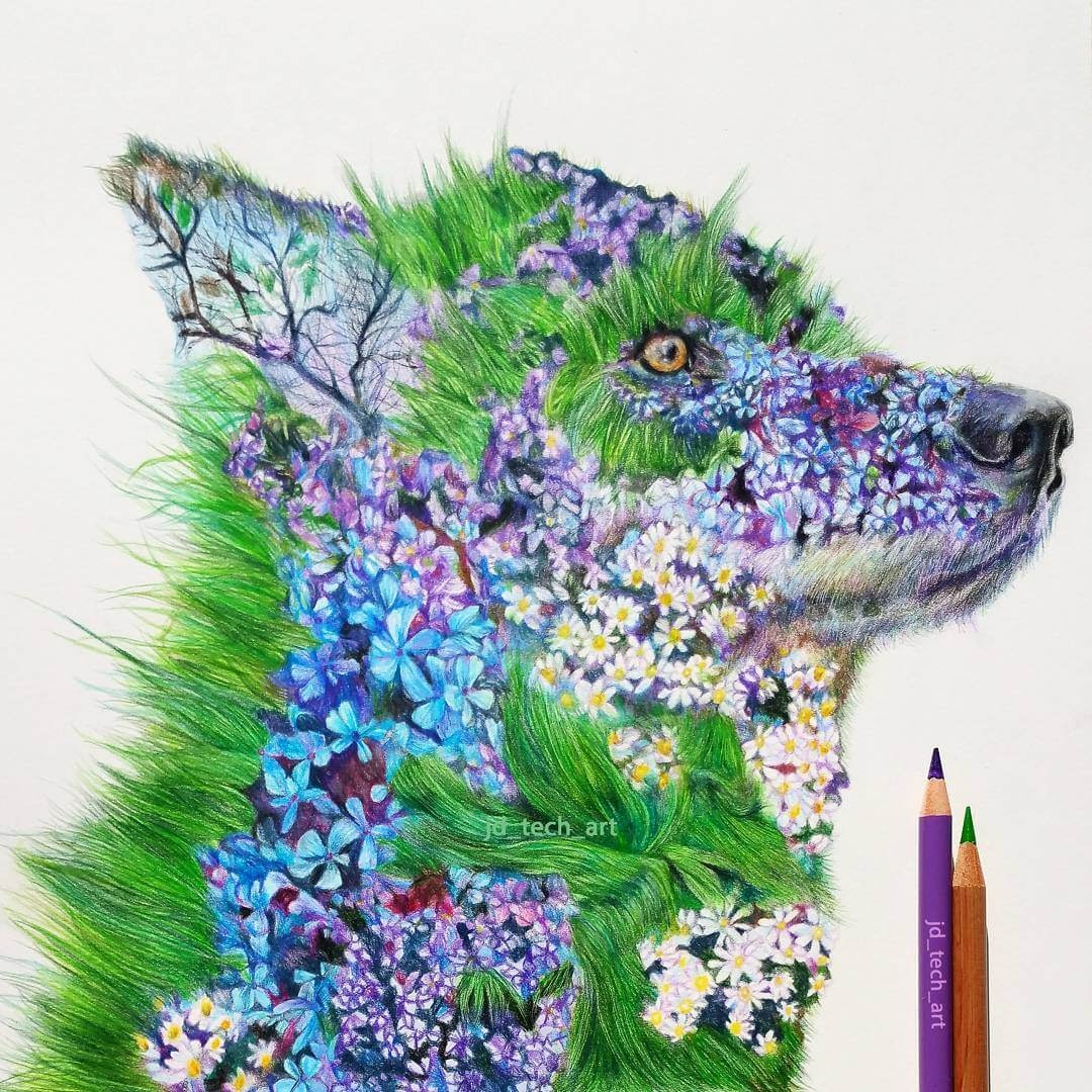 02-Blossom-Wolf-Joshua-Dansby-Fantasy-Animal-Combination-Drawings-www-designstack-co