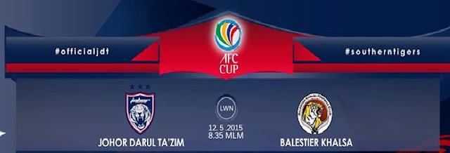 result JDT Vs Balestier Khalsa 12 Mei 2015 AFC Cup