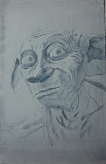 Starting the underpainting of Dobby from Harry Potter - Robin Springett