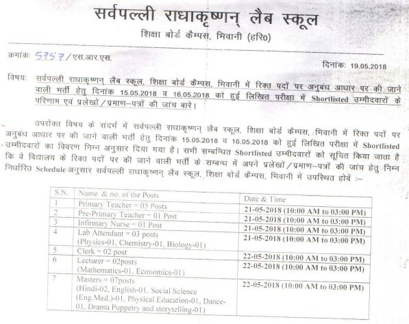 image : SRS Bhiwani Teacher Result 2018 Verification @ TeachMatters