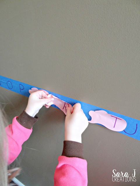 A low prep alphabet hunt that uses supplies you probably already have around the house.  Search for the letters around the house/room, match them up to the letters on the wall.  Easy fun!