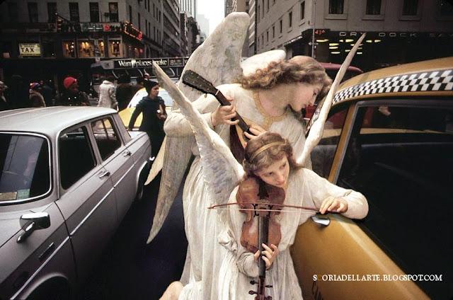 Il Canto degli angeli - William-Adolphe Bouguereau-fotomontaggi di dipinti classici in ambientazioni moderne
