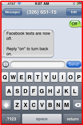 how to stop getting texts from facebook statuses