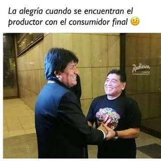 La alegría cuando se encuentran el productor con el consumidor final, Maradona, Evo Morales