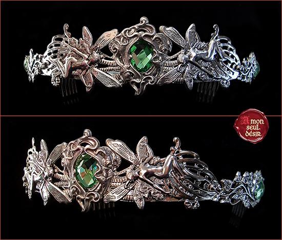 couronne argent fée verte féerique bijoux elfique magie mythes légendes bijouterie