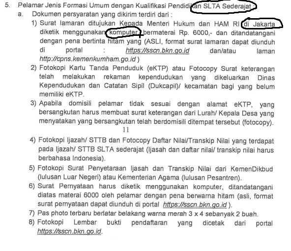 Contoh Surat Lamaran Dan Surat Pernyataan Cpns Penjaga Tahanan Kemenkumham Pelamar Umum Rekrutmen Lowongan Kerja Bulan Januari 2021