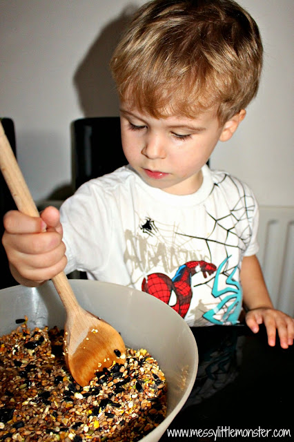 bird feeder activity for kids using biscuit cutter and gelatine