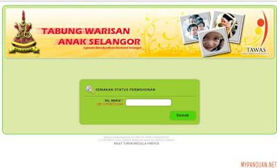 Permohonan TAWAS Tabung Warisan Anak Selangor 2018 Online