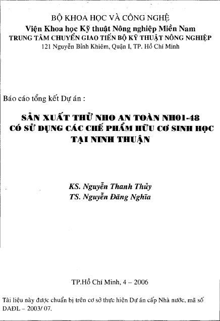 Sản xuất thử nho an toàn NH01-48 có sử dụng các chế phẩm hữu cơ sinh học tại Ninh Thuận