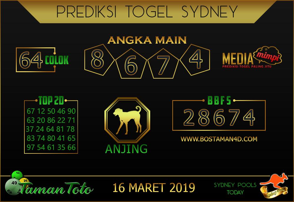 Prediksi Togel SYDNEY TAMAN TOTO 16 MARET 2019