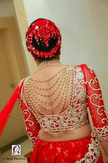 ba60f4842edda  64 Bridal wide U cut blouse back neck design with jewelled hangings