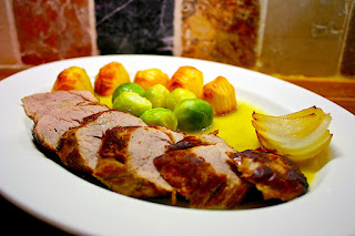 Pork Tenderloin with Sprouts and Hasselbäck Potatoes