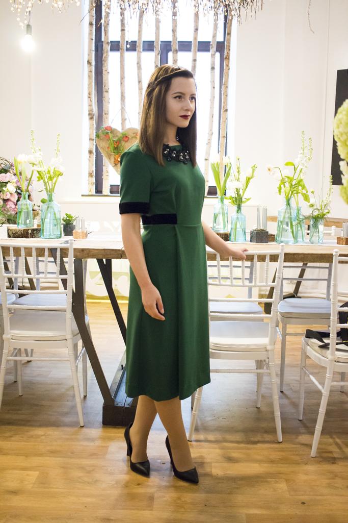 green A line dress