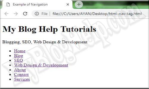 html5 nav tag example