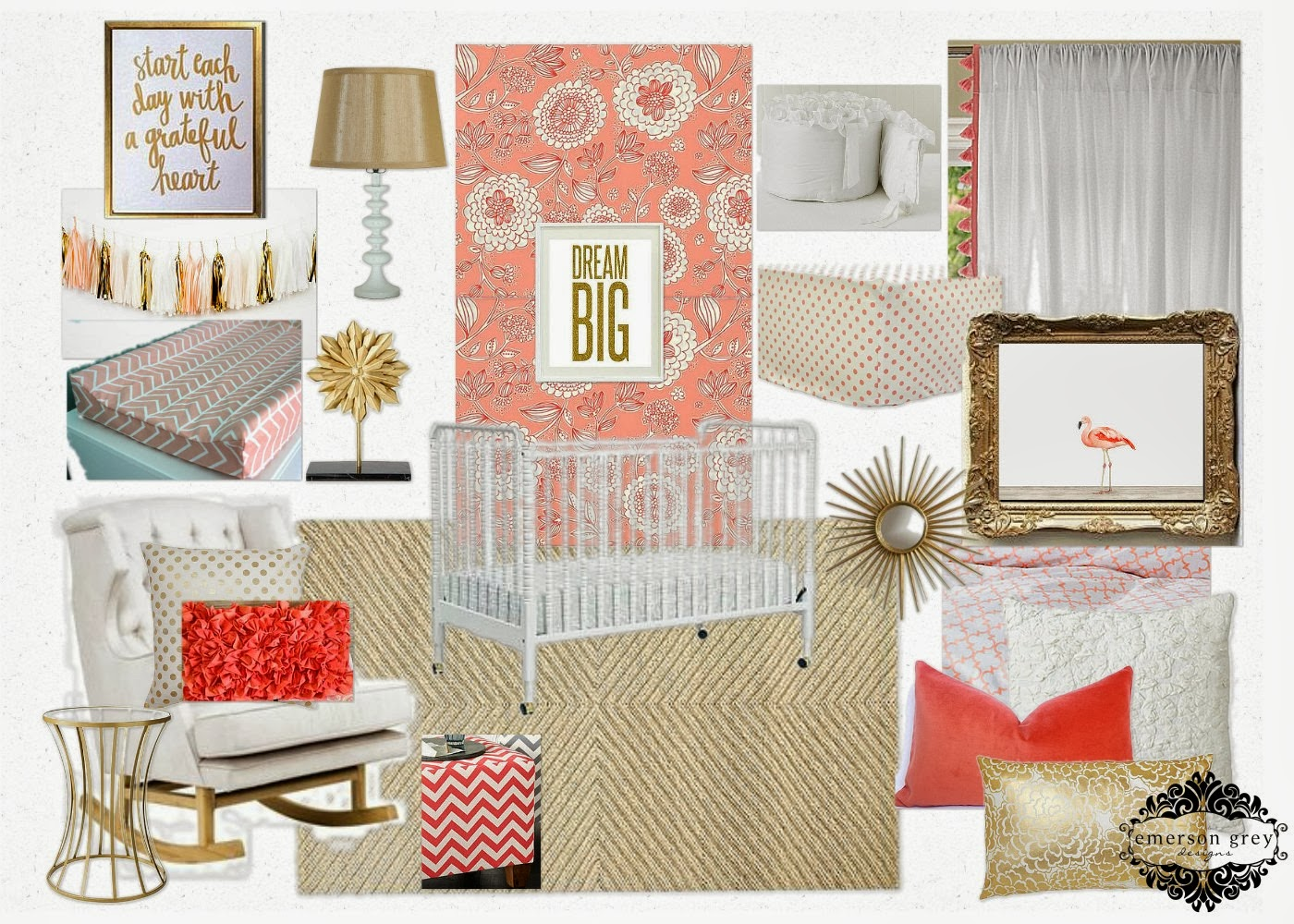 Grateful Heart Coral And Gold Nursery
