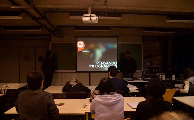 """Na imagem mostra parte da turma presente e ao fundo o slide inicial  com o título """"Pensando Infográficos"""""""