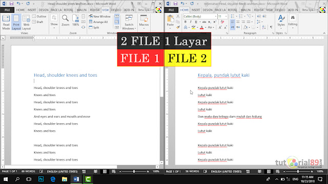 Cara mudah menampilkan 2 file document word dalam 1 layar + video
