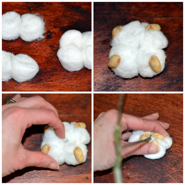 use pistachio shell and cotton balls to create a cotton stem