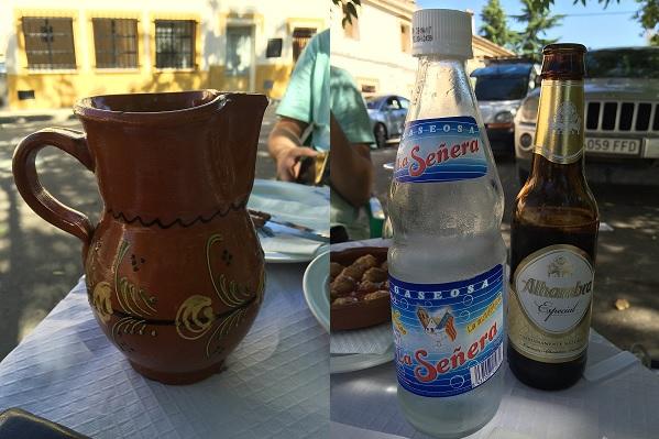 Bebida del almuerzo en el restaurante Venta de Gaeta