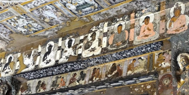 Ajanta cave 17 painting - six Buddhas of the past and future
