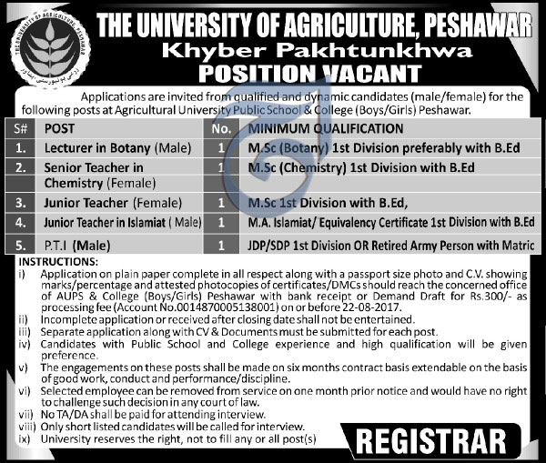 Jobs In University of Agriculture Peshawar August 2017