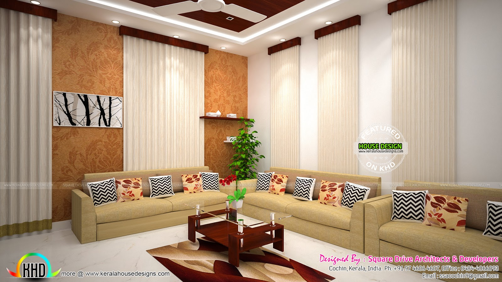 Foyer living dining room interiors kerala home design for Kerala house living room interior design