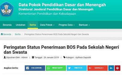 Download Data Sekolah yang Keterangan Penerimaan BOS diisi Menolak Tahun Ajaran 2018/2019