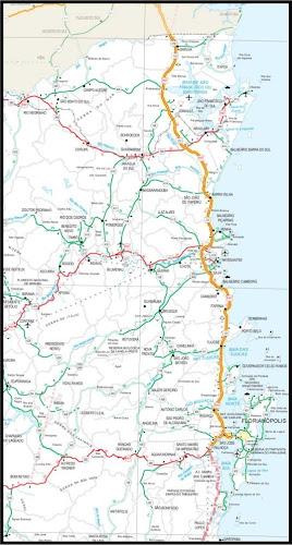 Mapa rodoviário do litoral norte de Santa Catarina