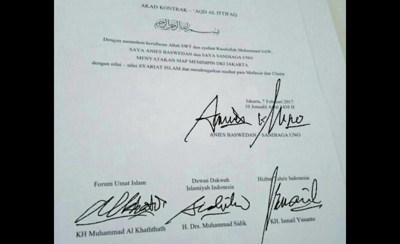 Akad kontrak tegakkan syariat Islam di Jakarta