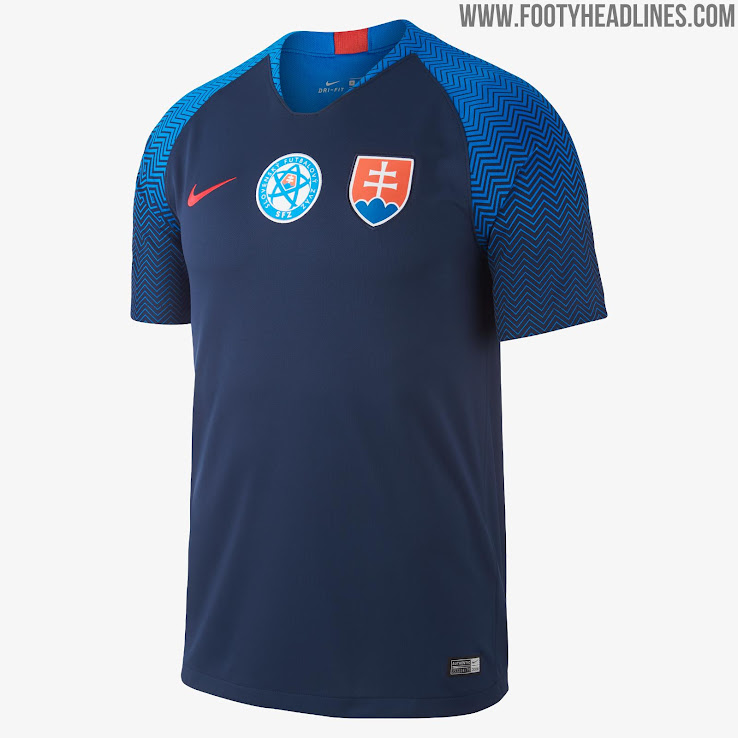 923a3cdbe18 Based on the same template and featuring the same sleeve graphic, the  Slovakia 2018 Nike away shirt pairs a navy base with royal blue and red  trim.