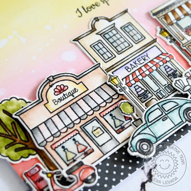 Sunny Studio Stamps: City Streets Downtown Shops Friendship Card by Lexa Levana.
