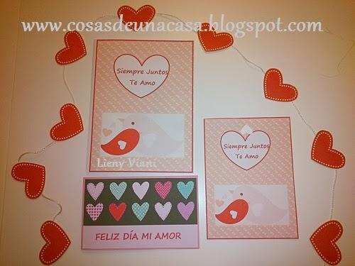 Cosas de Una Casa Tarjetas día de los enamorados o San Valentín