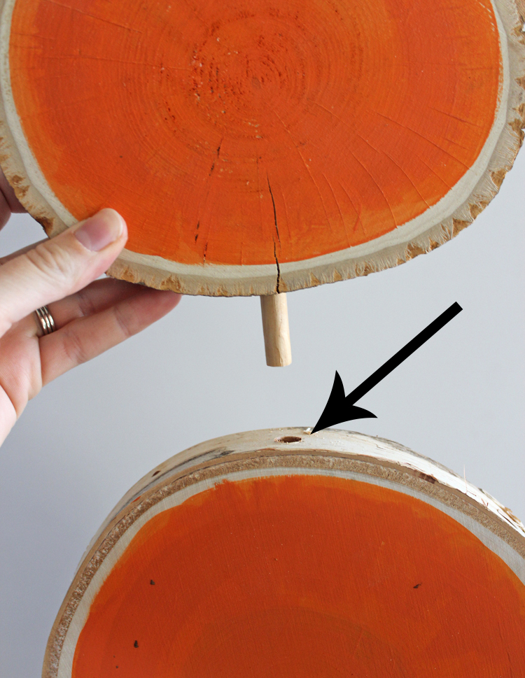 How to attach wood slices together so they make a tall stack