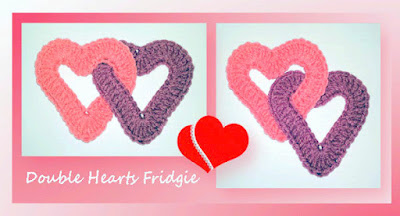 Amigurumi Crochet intertwined hearts fridge magnet