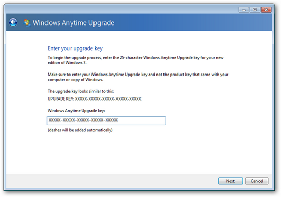 Windows 7 starter anytime upgrade product key