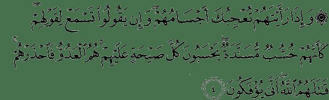 Surat Al-Munafiqun ayat 4