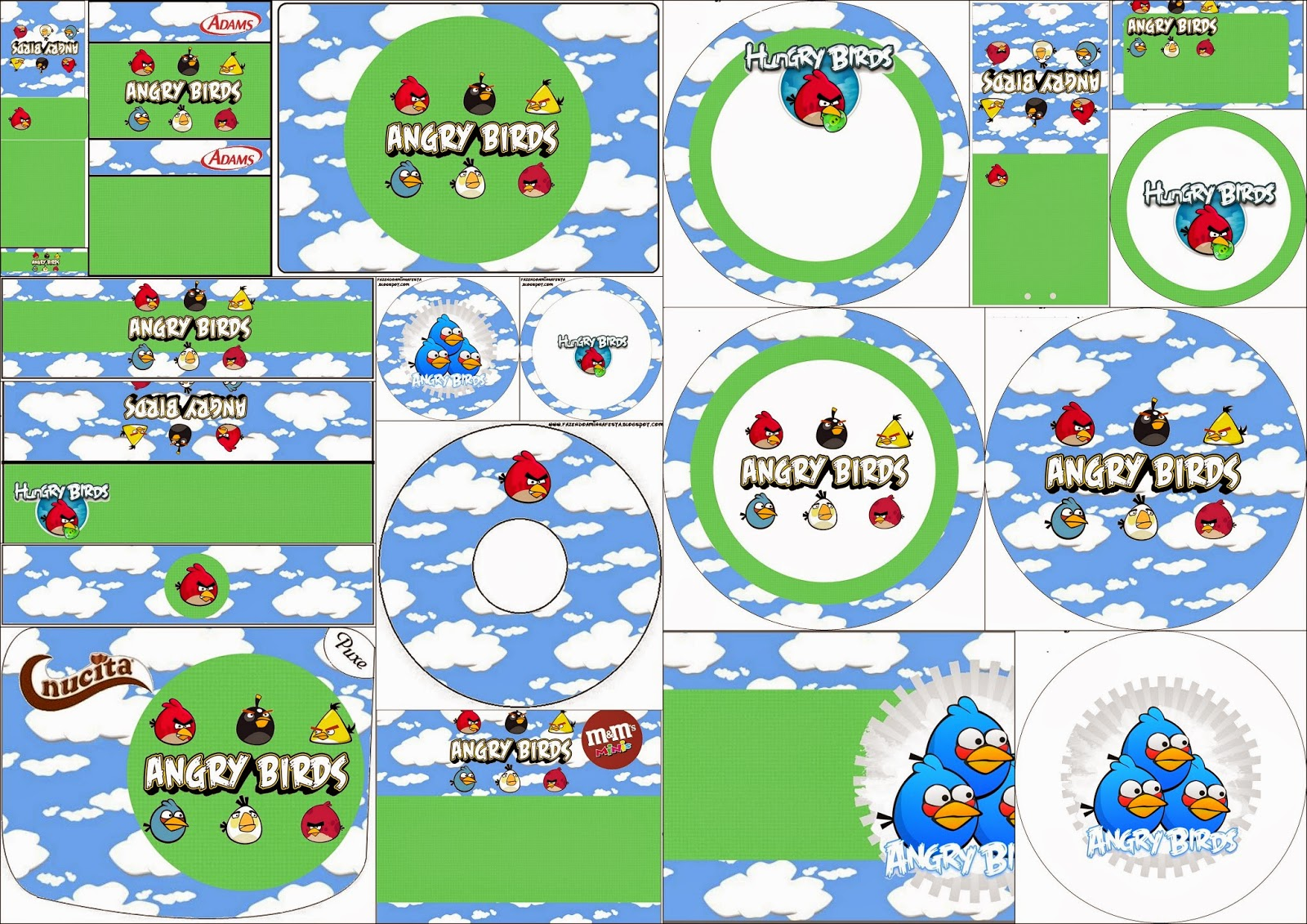 Angry Birds With Clouds Free Printable Candy Bar Labels