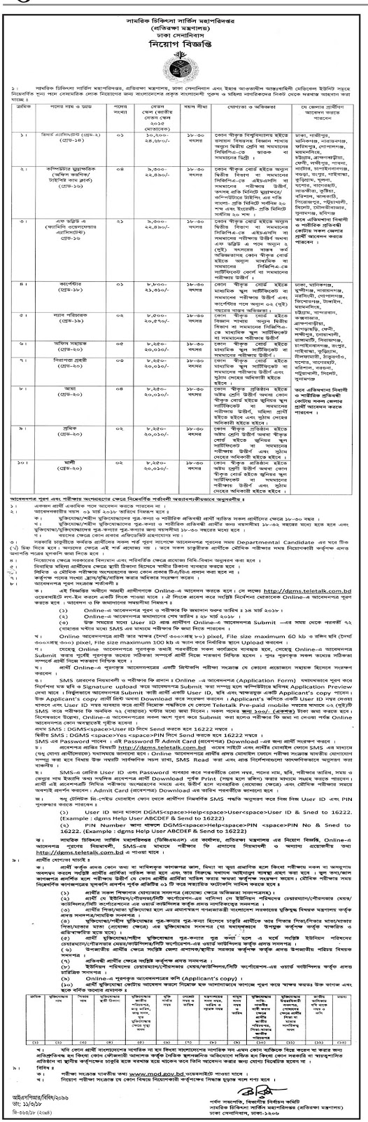 Directorate General Military Medical Services Job Circular