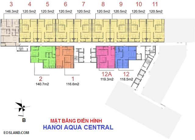 Mặt bằng căn hộ tại chung cư HaNoi Aqua Central