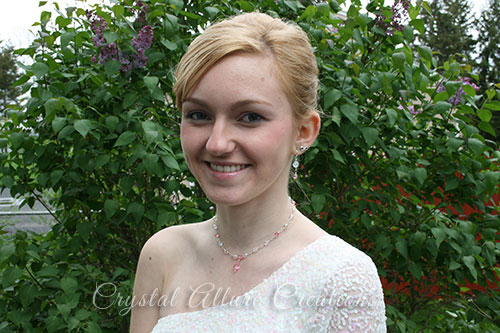 Courtney wearing her custom prom jewelry -Necklace and Earrings