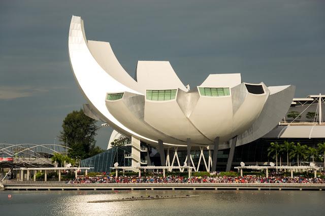 singapur, barvy, budovy, cestování, svět, art science museum, singapore
