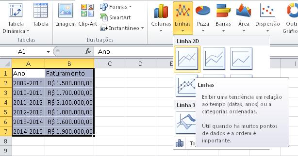 Linhas no Excel - Como fazer gráficos - Planilhas para download