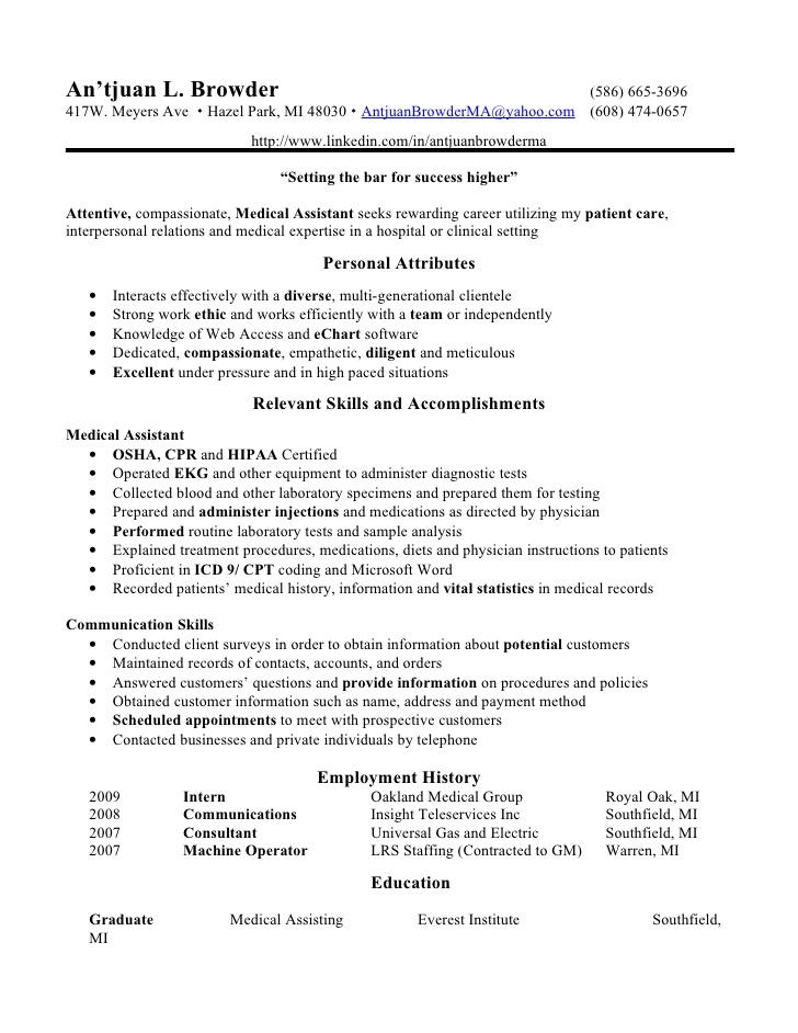 Medical Assistant - Medical Assistant Resume Skills - Assistant - certified medical assistant resume sample