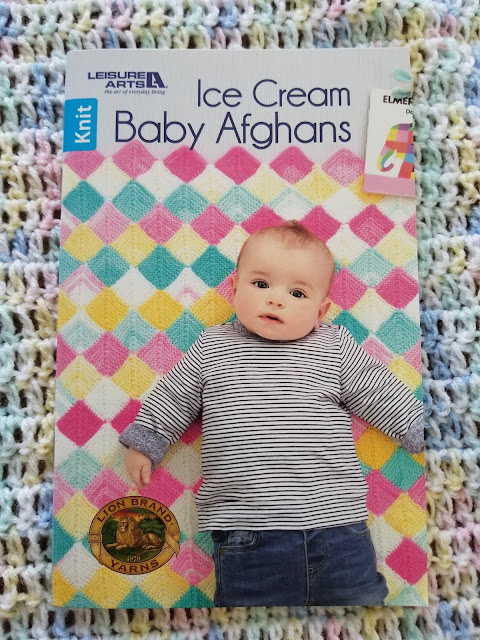Knit Baby Afghan using Lion Brand Ice Cream Yarn