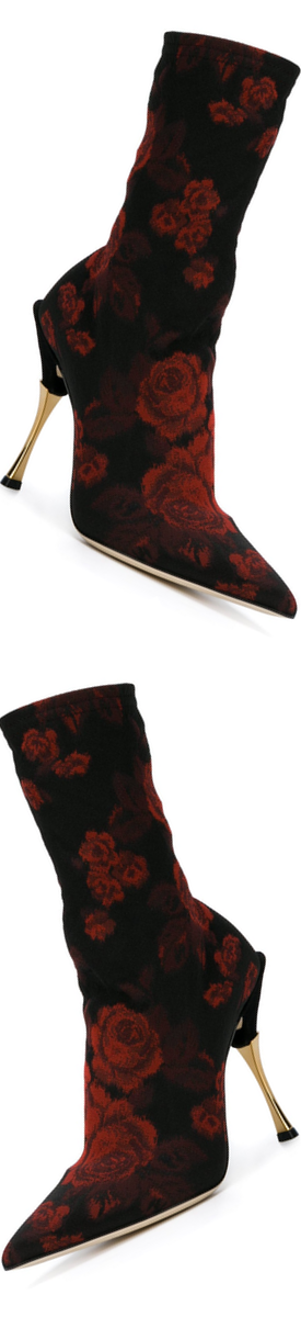 DOLCE & GABBANA rose patterned sock boots