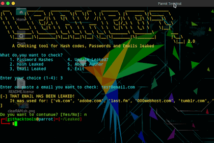 Termux Leaked - checking tool for Email, passwords and hash code leaked
