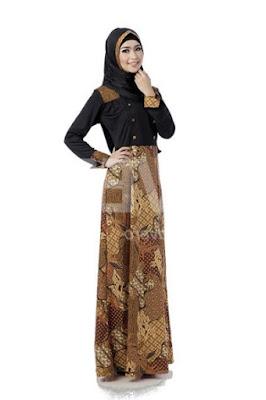 Ide baju gamis batik kombinasi modern untuk remaja