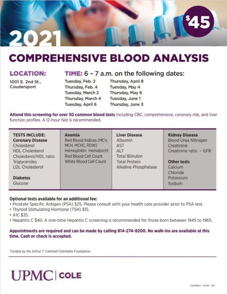 5-4/6  UPMC Cole Comprehensive Blood Analysis